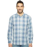 True Grit - Genuine Indigo Linen Long Sleeve One-Pocket Shirt Small Plaids