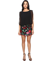 Aidan Mattox - Blouson Cocktail Dress with Multi Colored Embroidered Floral Lace Skirt