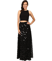 Aidan Mattox - Two-Piece Solid Crepe Halter Top with Embellished A-Line Ball Skirt