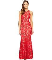 Aidan Mattox - Long Stretch Lace Gown with Godet Hem