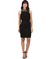 Aidan Mattox - Sleeveless Sheath Dress with Popover Top and Beaded Necklace