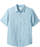 True Grit - Indigo Surf Plaid One-Pocket Short Sleeve Shirt Double Light Combed Cotton