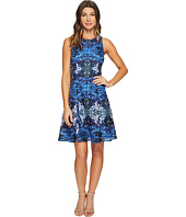 Maggy London - Placed Flower Shield Printed Lace Fit and Flare Dress