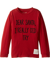The Original Retro Brand Kids - Dear Santa I Really Did Try Long Sleeve Vintage Cotton Tee (Toddler)
