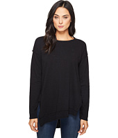 HEATHER - Rib Panel Slouchy Asymmetric Pullover