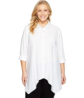 Calvin Klein Plus - Plus Size Roll Sleeve Sharkbite Top