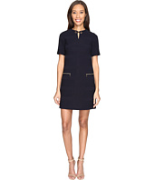 Tahari by ASL - Textured Scuba Neck Detail Shift Dress