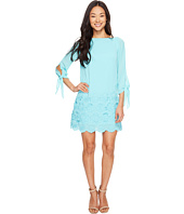 Tahari by ASL Petite - Petite Tie Sleeve Embroidered Hem Chiffon Shift Dress