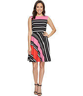 Tahari by ASL - Crepe Multi-Stripe A-Line Dress
