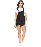 Blank NYC - Black Cut Off Overalls in Rock Steady