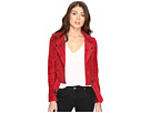 Red Suede Moto Jacket in Red Moon