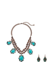 M&F Western - Hanging Turquoise Necklace/Earrings Set