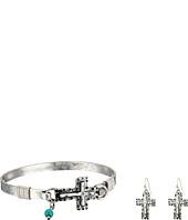 M&F Western - Hammered Cross Bracelet/Earrings Set