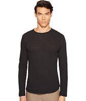 Vince - Raw Hem Long Sleeve Linen Blend Crew Neck T-Shirt
