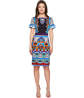 Alberta Ferretti - Short Sleeve Printed Jersey Dress