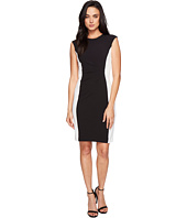 Tahari by ASL - Side Ruche Color Block Sleeveless Crepe Sheath