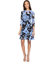 Donna Morgan - 3/4 Sleeve Aline Poly Chiffon Dress with Circle Flounce