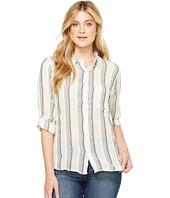 Dylan by True Grit - Havana Stripe One-Pocket Roll Sleeve Shirt