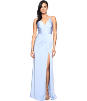 Faviana - Satin Faille V-Neck Gown w/ Lightly Rouched Bodice & Delicate Draping On Skirt 7755