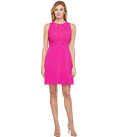 Laundry by Shelli Segal - Embroidered Mixed Fabric A-Line Sheath Dress