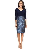 Adrianna Papell - Deep V Jersey Jacquard Dress