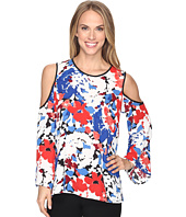 Vince Camuto - Bell Sleeve Nautical Bloom Cold-Shoulder Blouse
