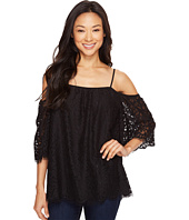 Vince Camuto - Elbow Sleeve Cold-Shoulder Geo Lace Blouse