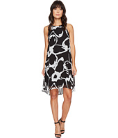 Vince Camuto - Sleeveless Cut Out Floral Chiffon Overlay Dress