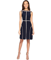 Adrianna Papell - Matte Jersey Fit and Flare Dress with Contrast Netting Insets and Topstitching