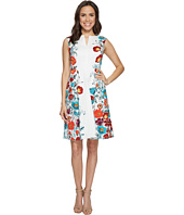 Adrianna Papell - Side Panel Floral Printed Jacquard Fit and Flare Dress