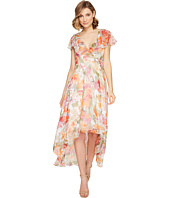 Adrianna Papell - Watercolor Floral Printed Chiffon Wrap Dress
