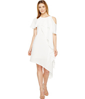 Adrianna Papell - Novelty Gauzy Crepe Cold Shoulder Asymmetric Dress