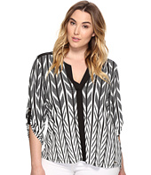 Calvin Klein Plus - Plus Size Roll Sleeve Printed Color Block Top