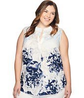 Calvin Klein Plus - Plus Size Sleeveless Printed Top with Collar