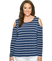 Calvin Klein Plus - Plus Size Cold Shoulder Stripe Top
