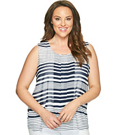 Calvin Klein Plus - Plus Size Sleeveless Printed Top with Chiffon Overlay