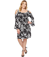 Karen Kane Plus - Plus Size Cold Shoulder Flare Sleeve Dress