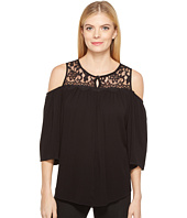 Karen Kane - Lace Yoke Cold Shoulder Top