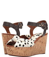 Dolce & Gabbana - Polka Dot Cady Knot Cork Wedge with Raffia Strap 50mm