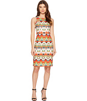 Maggy London - Feather Ikat Stripe Square Neck Sheath Dress