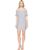 Maggy London - Seersucker Off the Shoulder Shift Dress