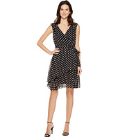 Tahari by ASL - Polka Dot Chiffon Faux-Wrap Dress