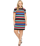 London Times - Plus Size Awning Stripe Side Blocked Shift