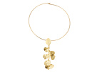 Satin Gold Flower Front Wire Necklace