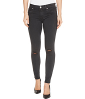 Hudson - Nico Mid-Rise Ankle Raw Hem Super Skinny Five-Pocket Jeans in Blackened Charcoal