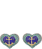 Betsey Johnson - Anchor Pave Heart Stud Earrings