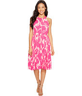Vince Camuto Specialty Size - Petite Cut Out Floral Pleated Belted Halter Dress