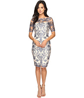 Adrianna Papell - Boat Neck Elbow Length Sheath in Fleur Embroidery