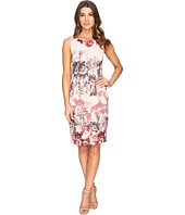 Adrianna Papell - Romantic Rose Border Print Sleeveless Sheath Dress