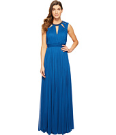 Adrianna Papell - Shirred Stretch Tulle Dress with Beaded Necklace & Bodice Cut Outs